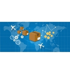 delivery package shipping world wide map globe vector image vector image