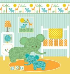 elephant nursery vector image vector image