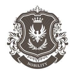 monarchy coat of arms - heraldic royal emblem vector image