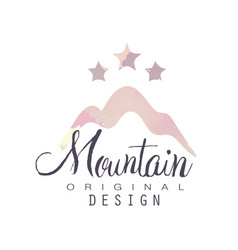 mountain original design logo with stars tourism vector image vector image