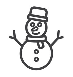 snowman line icon new year and christmas vector image vector image