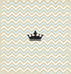 Blue zig zag pattern background vintage with Crown vector image