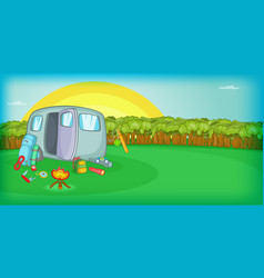 Camping horizontal banner sunset cartoon style vector