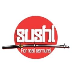 Color vintage sushi emblem vector image vector image