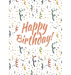 Happy birthday card cover with colorful serpentine vector image