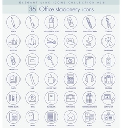 Office stacionery outline icon set Elegant vector image vector image