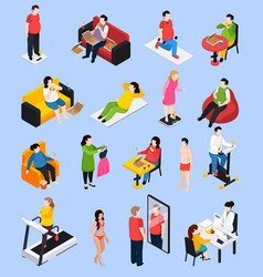 owerweight people icons set vector image vector image