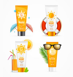 realistic 3d detailed sunscreen set vector image