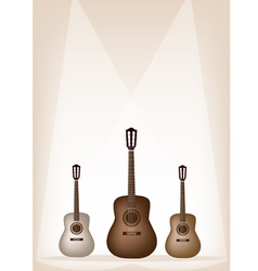 Three Beautiful Guitar on Brown Stage Background vector image
