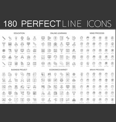 180 modern thin line icons set education vector