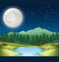 A river night scene vector