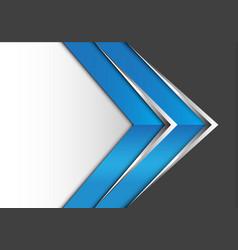 Abstract blue silver arrow on gray white design vector