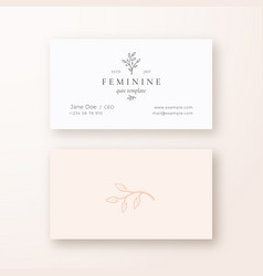 Abstract feminine leaf branch sign or logo vector