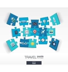 Abstract travel background with connected color vector