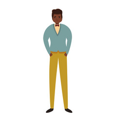African elegant boy icon cartoon style vector