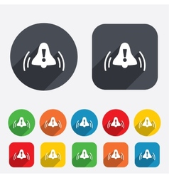Alarm bell with exclamation mark icon Wake up vector
