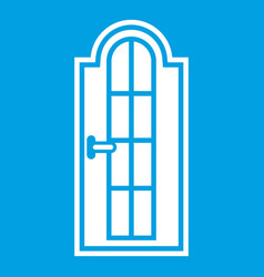 Arched wooden door with glass icon white vector