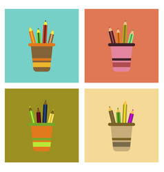 assembly flat icons pencils in stand vector image