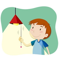 Boy turning on the light vector