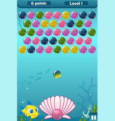 Bubble shooter under the sea game vector