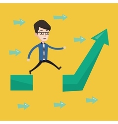 Businessman jumping over gap on arrow going up vector image