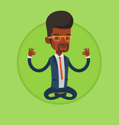 businessman meditating in lotus position vector image