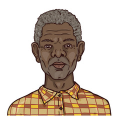 Cartoon avatar - old afro american man in vector
