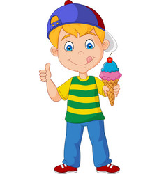 cartoon boy holding an ice cream vector image