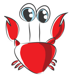 cartoon of red crab on white background vector image