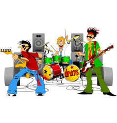cheerful musical group vector image