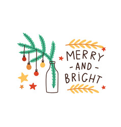 christmas festive greeting card design fir tree vector image