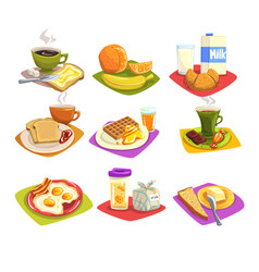 classic breakfast ideas set cartoon vector image