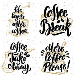 Coffee take away more coffee please hand drawn vector
