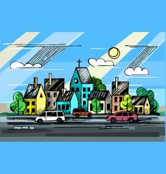 color ink urban sketch vector image