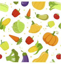 colorful farm fresh vegetables seamless pattern vector image