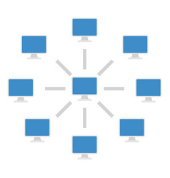 connection diagram computers vector image