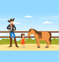 cowboy character working on farm male farmer and vector image