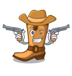 Cowboy cowboy boots in the shape cartoon vector