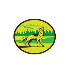 Coyote Mountain Landscape Oval Retro vector image