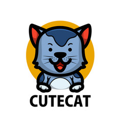 cute cat cartoon logo icon vector image