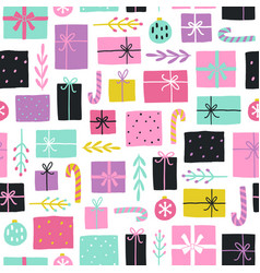 Cute christmas gifts seamless pattern vector
