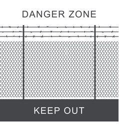 Danger zone with fence vector