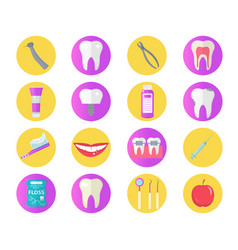 Dental icon set flat style stomatology kit vector