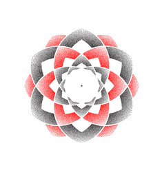 dots black and red circle flower vector image