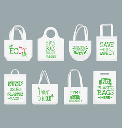 Eco fabric bag say no to plastic bags polythene vector