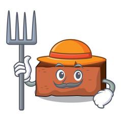 Farmer brick character cartoon style vector