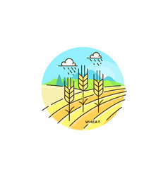 farming field flat in linear vector image
