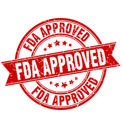fda approved round grunge ribbon stamp vector image