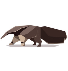 flat polygonal giant anteater vector image