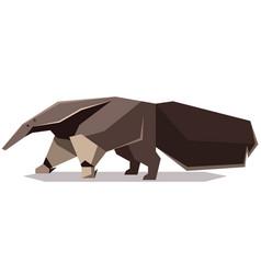 Flat polygonal giant anteater vector